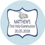 Personalised Edible Blue Cross & Bible Communion Cake Topper